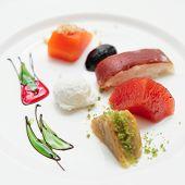 foto of phyllo dough  - Set of Turkish desserts on plate - JPG