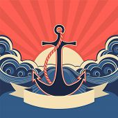 picture of anchor  - Nautical label with anchor and blue sea waves - JPG