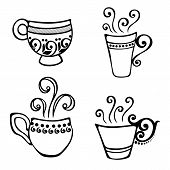 Set of Decorative Cup of Coffee
