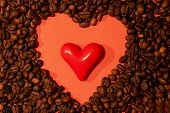 Coffee Beans And Red Heart