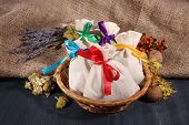 picture of sachets  - Textile sachet pouches with dried flowers - JPG