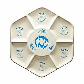 stock photo of seder  - Seder plate with Hebrew and English script - JPG