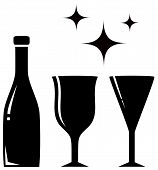 stock photo of boose  - black icon with two wine glass and bottle - JPG