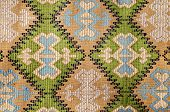 Detail Of Old Traditional Romanian Wool Carpet With Ancient Motifs
