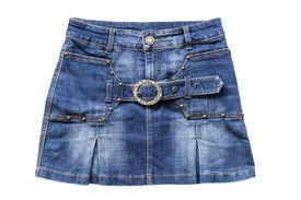 stock photo of jeans skirt  - Blue jean mini skirt isolated over white - JPG
