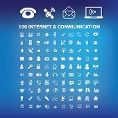 100 internet, communication, technology computer icons, signs set, vector
