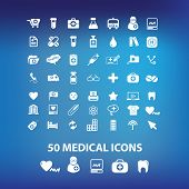50 medical, health icons, signs set, vector
