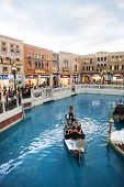 Cotai Strip Macau China-august 22 Visitor On Gondola Boat In Venetian Hotel The Famous Shopping Mall