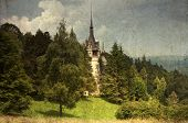 Vintage postcard of Peles Castle, Sinaia, the former kingdom residence in Romania
