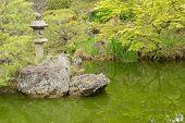 stone lantern in Japanese garden.