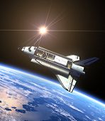 Space Shuttle And Sun