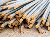 Stack Of Steel Reinforcement Rods For Construction, Background. Selective Focus.