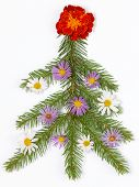 Christmas Tree Decorated With Flowers