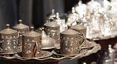Turkish bronze and silver dishware