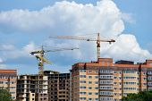 DOLGOPRUDNY, MOSCOW REGION, RUSSIA - JULY 4, 2014: Construction of new residential buildings on the