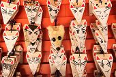 KYOTO, JAPAN - APRIL 27th : A variety of faces painted on votive tablet of the shape of fox head at Fushimi Inari Taisha Shrine in Kyoto, Japan on 27th April 2014.