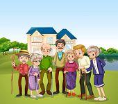 Illustration of elderly at the nursing home