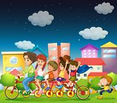 Illustration of a family riding bicycle