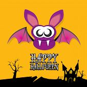 stock photo of bat  - vector happy halloween card - JPG