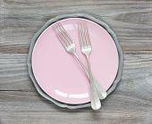 Fork On An Pink Plate