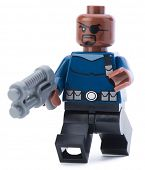 Ankara, Turkey - January 24, 2014: Lego Marvel super hero Nick Fury isolated on white background