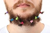 Long beard of scrunchy isolated on white