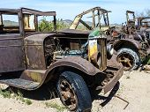 Old Rusty Vintage Cars In Goldfield Ghost Town