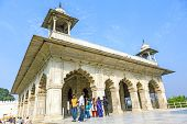 People Visit  Hall Of Private Audience Or Diwan I Khas At The Lal Qila Or Red Fort In Delhi, India