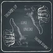 vector icons of a thumbs up and a thumbs down, isolated on dark grunge chalkboard background