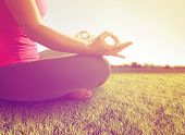 picture of toned  -  hands of a woman meditating in a yoga pose on the grass toned with a retro vintage instagram filter  - JPG