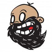 bearded bald man cartoon illustration