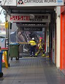 Fire Search And Rescue Begin Searching The Remains Of A Shop After Explosion