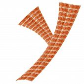 Alphabet made of red brick, Letter Y