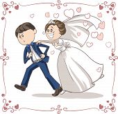 Running Groom Chased by Bride Funny Vector Cartoon