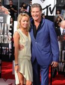 LOS ANGELES - APR 13:  David Hasselhoff & Hayley Roberts arrives to the 2014 MTV Movie Awards  on April 13, 2014 in Los Angeles, CA.