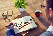 A Man Brainstorming about Motivation Concept