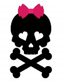 Skull with a pink bow on white background. Vector illustration.