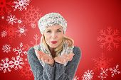 Happy winter blonde against red snow flake pattern design