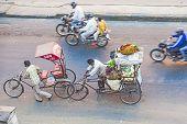 People On Rickshaw In Jaipur Transporting Vegetables