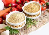 image of millet  - Millet spelt bulgur and vegetables on burlap - JPG