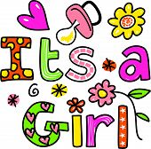 It's a Girl Cartoon Text Clipart