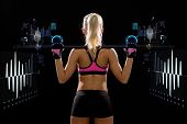 fitness, sport and dieting concept - sporty woman exercising with barbell