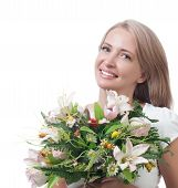 Beautiful Woman With A Bouquet Of Flowers Isolated On White Background