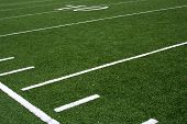 pic of football field  - Football field at the 20 and 10 yard lines with the hash marks - JPG