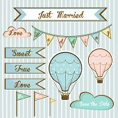 set of wedding invitations for members with air balloons