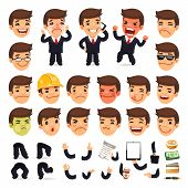 picture of cartoon character  - Set of Cartoon Businessman Character for Your Design or Aanimation - JPG