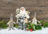 Santa Claus And Happy Kids. Christmas Decoration