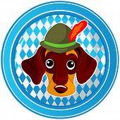 Oktoberfest Celebration circle button with dog