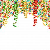 pic of confetti  - assorted confetti with shiny colorful streamer on white background - JPG