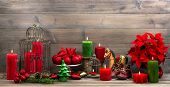 Vintage Christmas Decorations With Red Flower Poinsettia